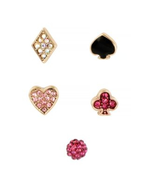 Betsey Johnson Casino Royale Pave Heart and Clover 5 Stud Earring Set - PINK