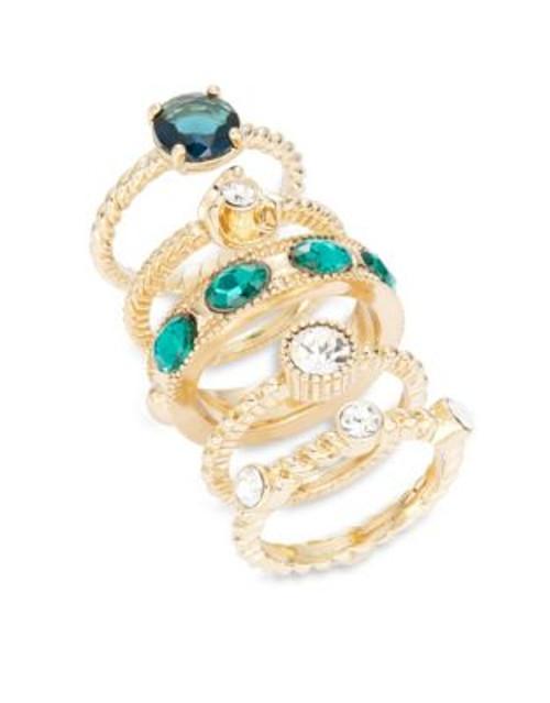 A.B.S. By Allen Schwartz Goldtone Multi-Stone Ring Set - GREEN - 7