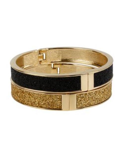 Betsey Johnson Black and Gold Glitter Hinged Bangle Bracelet Set - BLACK/GOLD
