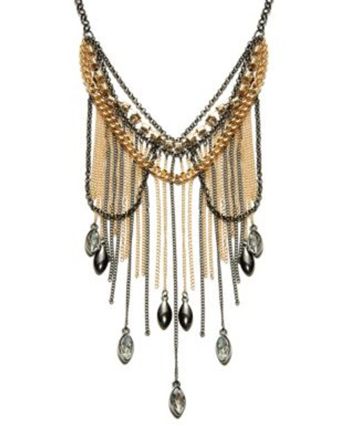 A.B.S. By Allen Schwartz Bead and Chain Multi-Row Necklace - GOLD