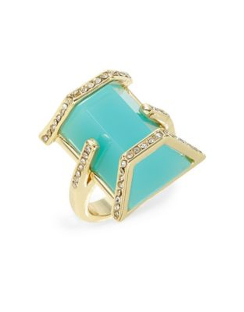 A.B.S. By Allen Schwartz Framed Turquoise Bar Ring - BLUE - 7