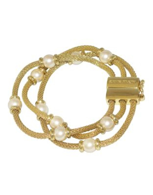 Anne Klein 3 Row Mesh Bracelet With Pearl - GOLD
