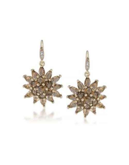 Carolee Desert Oasis Cluster Drop Pierced Earrings - LIGHT BROWN