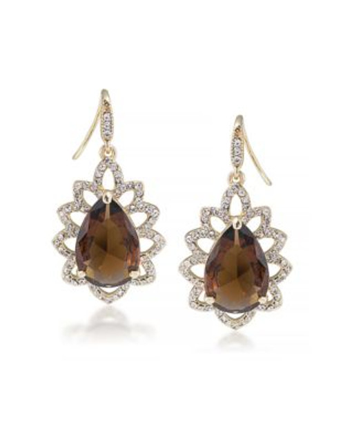 Carolee Desert Oasis Dramatic Drop Pierced Earrings - LIGHT BROWN