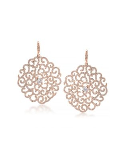 Carolee Floral Lace Rose Goldtone Dramatic Floral Drop Pierced Earrings - ROSE GOLD