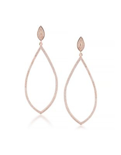 Carolee Floral Lace Rose Goldtone Elongated Pierced Earrings - ROSE GOLD