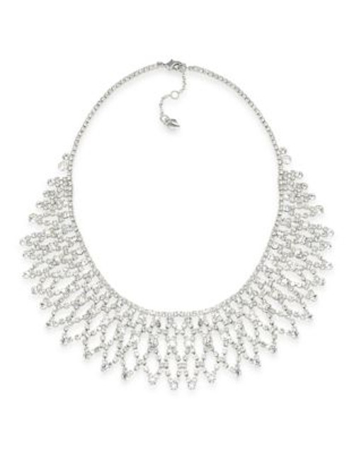 Carolee Crystal Stems Dramatic Frontal Silver Tone Necklace - SILVER