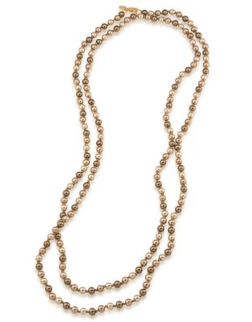 Carolee Faux Pearl Rope Necklace - BROWN