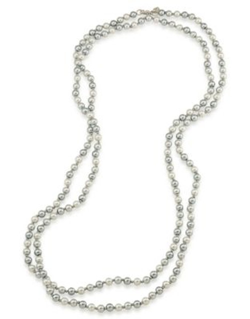 Carolee Faux Pearl Rope Necklace - GREY