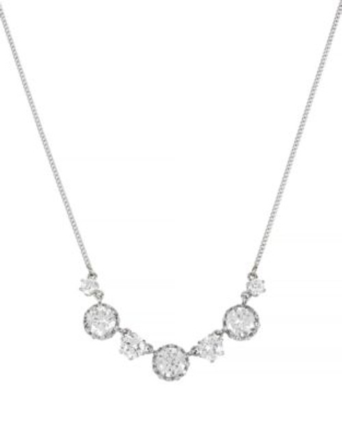 Betsey Johnson All That Glitters Ruffled Crystal Frontal Silver Necklace - CRSYTAL