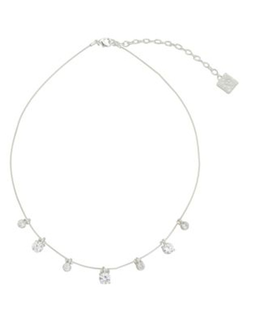 Anne Klein Metal Crystal Collar Necklace - SILVER