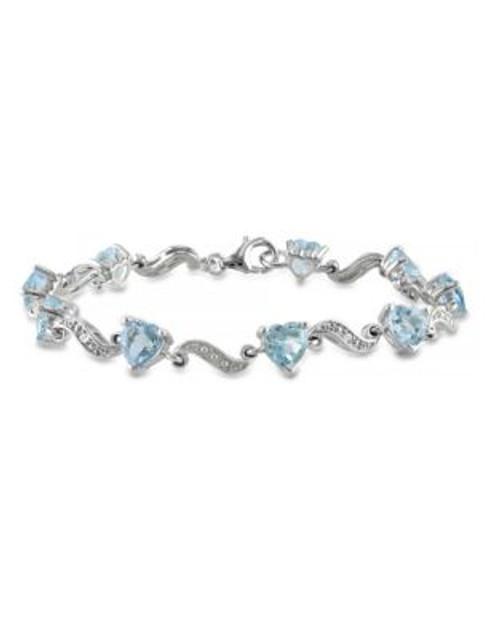 Concerto 8.40TCW Blue Topaz and Diamond Accent Heart Bracelet - TOPAZ