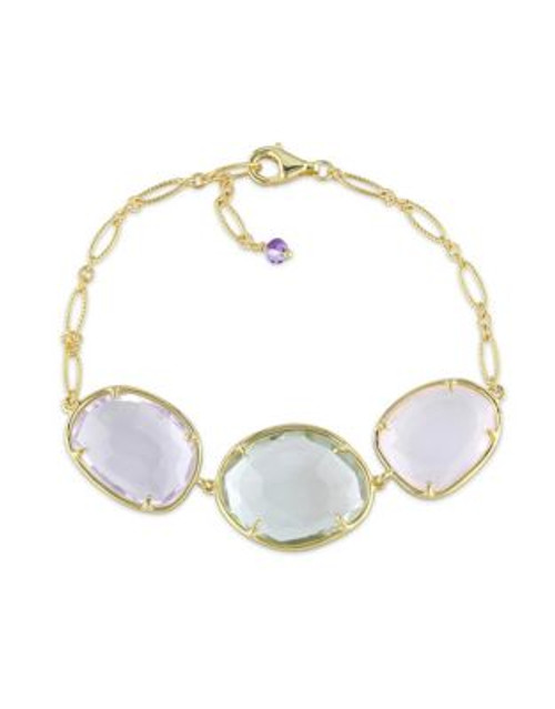 Concerto Amethyst Green and Rose Quartz Yellow Sterling Silver Bracelet - AMETHYST
