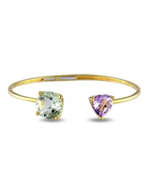 Concerto 8.85 CT TCW Green Amethyst and Rose de France Yellow Silver Heart Bangle - AMETHYST