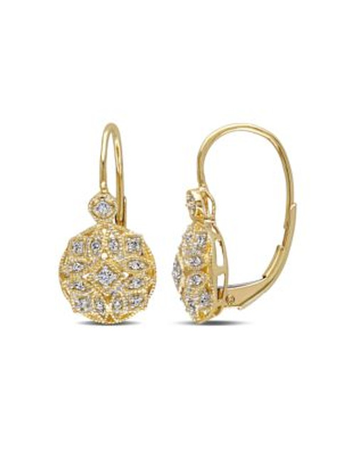 Concerto .125 CT Diamond TW 14k Yellow Gold Leverback Earrings - DIAMOND