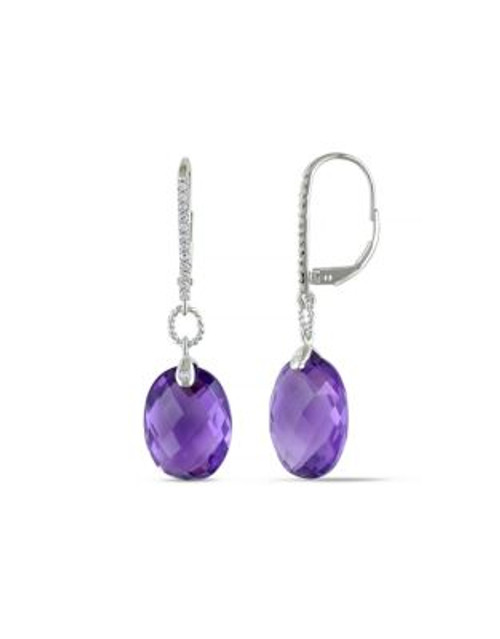 Concerto .125 CT Diamond TW And 18 CT TGW Amethyst-Africa 14k White Gold Leverback Earrings - PURPLE