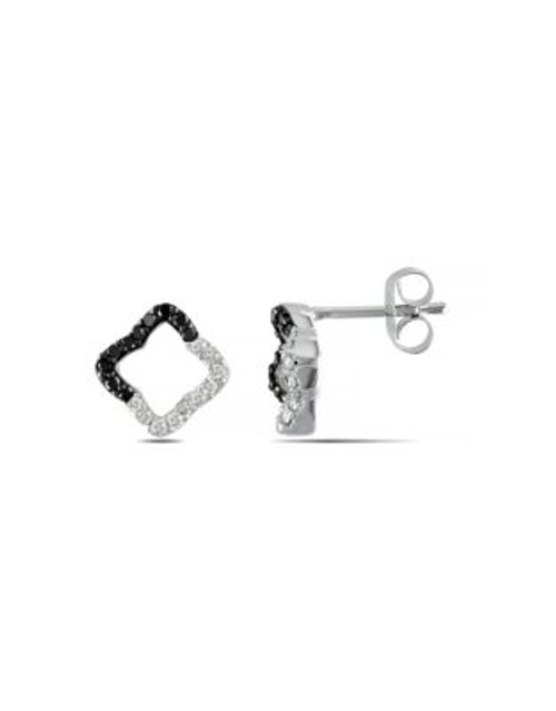Concerto .25 CT Black and White Diamond TW Ear Pin 14k White Gold Earrings 14k White Gold - BLACK