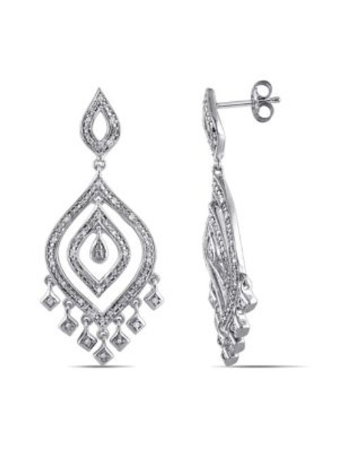 Concerto .25 CT Diamond and Sterling Silver Vintage Drop Earrings - DIAMOND