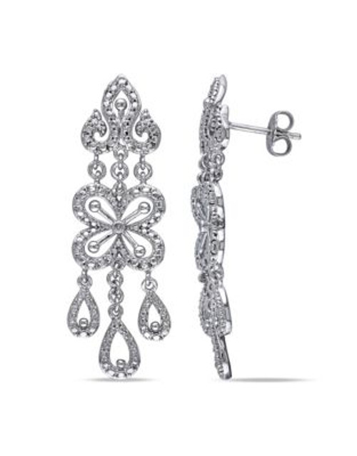 Concerto .01 CT Diamond and Sterling Silver Chandelier Drop Earrings - DIAMOND