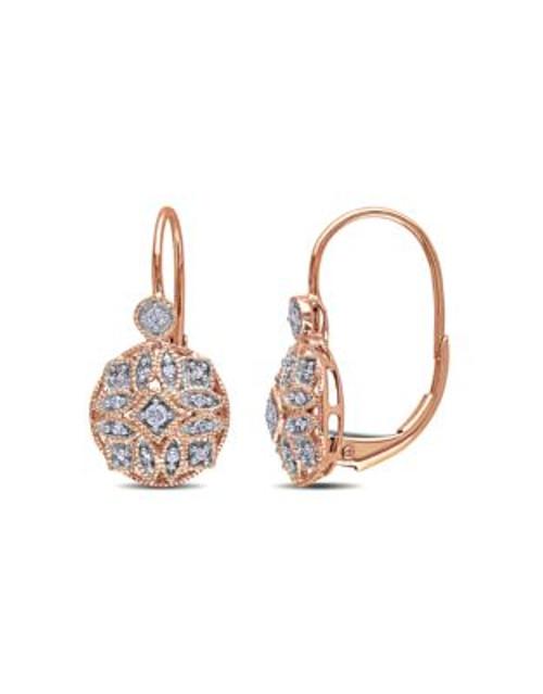 Concerto .125 CT Diamond TW 14k Pink Gold Leverback Earrings - DIAMOND