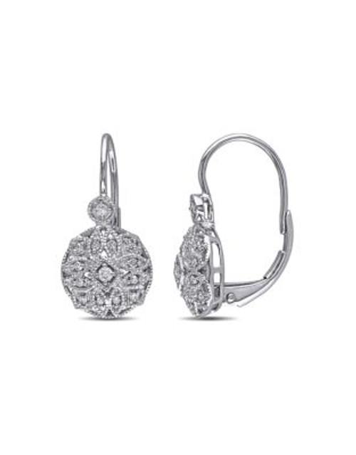 Concerto .125 CT Diamond TW 14k White Gold Leverback Earrings - DIAMOND