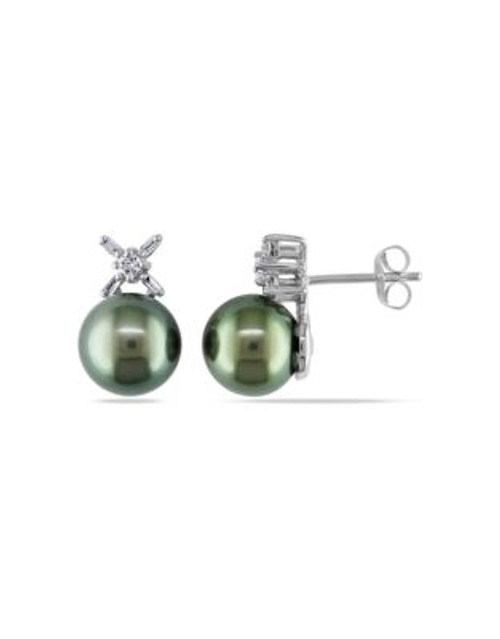 Concerto .2 CT Round and Parallel Baguette Diamonds TW 9.5 - 10 MM Black Tahitian Pearl Ear Pin 14k White Gol - BLACK