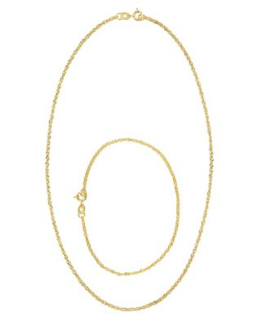 Fine Jewellery 14k Yellow Gold Singapore Chain Necklace and Bracelet Set - YELLOW GOLD