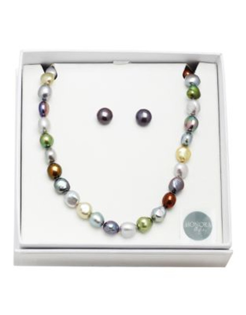 Honora Style Freshwater Pearl Necklace and Earrings Set - DARK MULTI