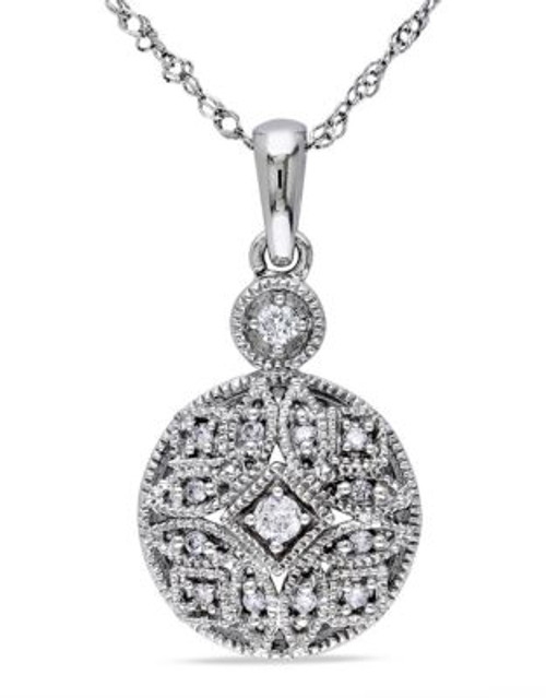 Concerto .125 CT Diamond TW Fashion Pendant With 14k White Gold Chain - DIAMOND