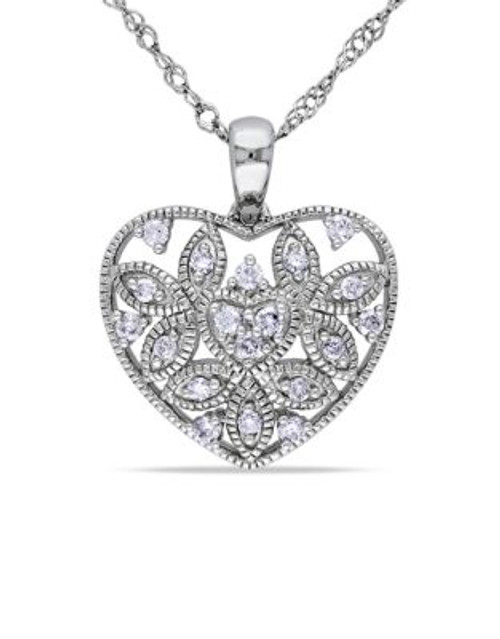 Concerto .125 CT Diamond TW Heart Pendant With 14k White Gold Chain - DIAMOND