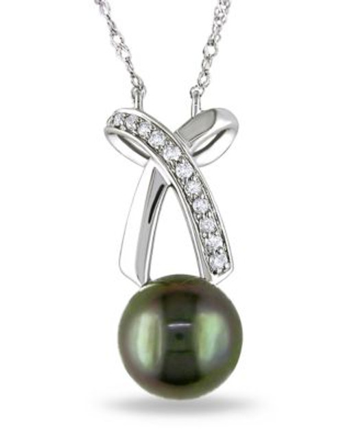 Concerto .1 CT Diamond TW 8 - 8.5 MM Black Tahitian Pearl Fashion Pendant With 14k White Gold Chain - BLACK