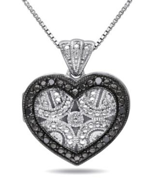 Concerto .06 CT Black Diamond and Sterling Silver Locket Heart Necklace - DIAMOND