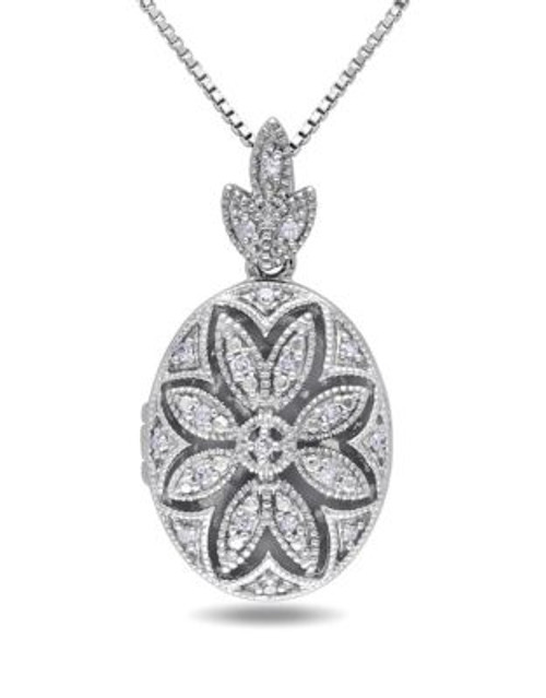 Concerto .10 CT Diamond and Sterling Silver Floral Locket Necklace - DIAMOND