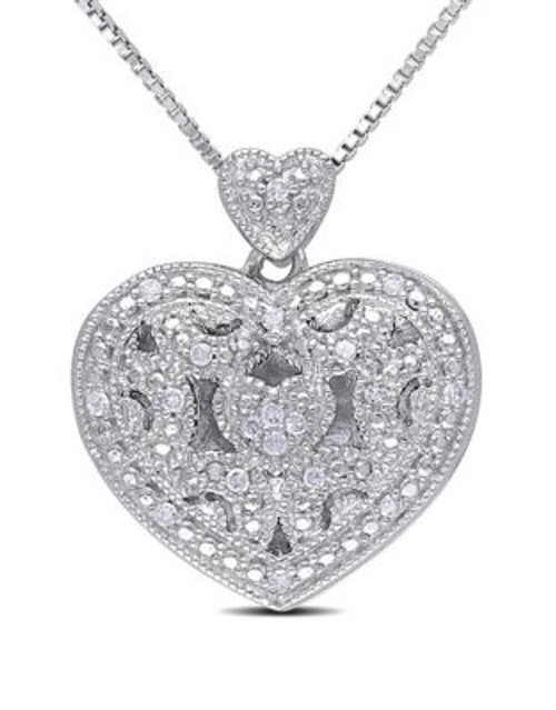 Concerto .08 CT Diamond and Sterling Silver Locket Heart Necklace - DIAMOND
