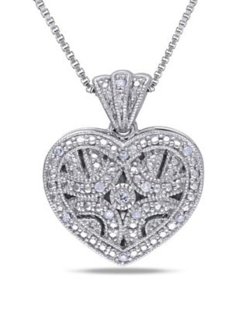 Concerto .06 CT Diamond and Sterling Silver Locket Heart Necklace - DIAMOND