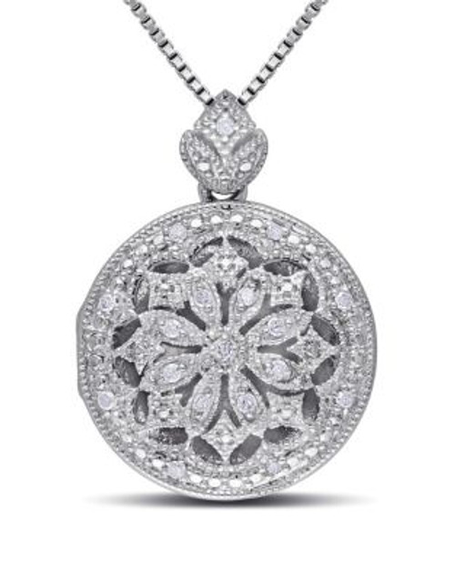 Concerto .10 CT Diamond and Sterling Silver Locket Necklace - DIAMOND