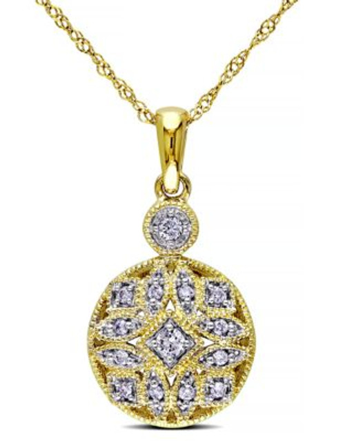 Concerto .125 CT Diamond TW Fashion Pendant With 14k Yellow Gold Chain - DIAMOND