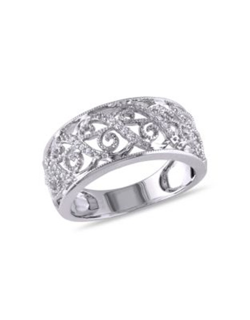 Concerto .1 CT Diamond TW 14k White Gold Fashion Ring - DIAMOND - 6