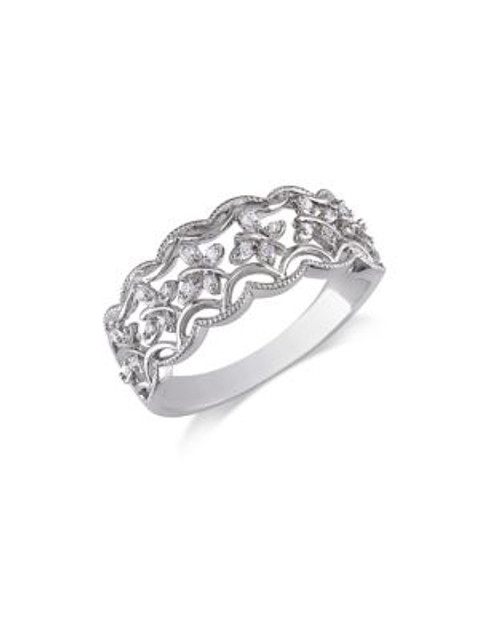 Concerto .08 CT Diamond and Sterling Silver Butterfly Ring - DIAMOND - 9
