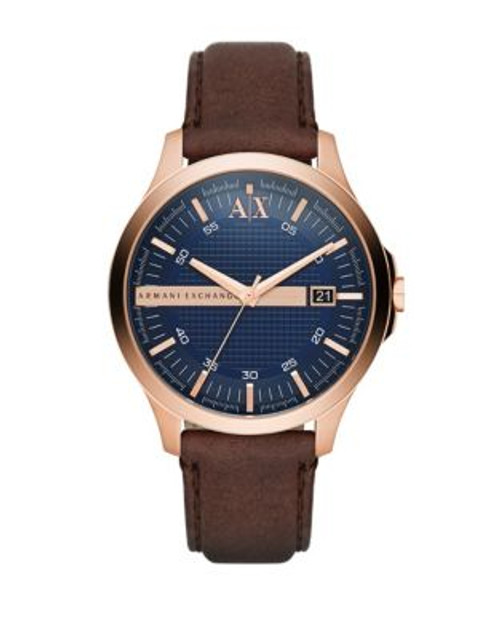 Armani Exchange Analog Hampton Leather-Strap Watch - BROWN