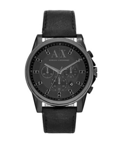 Armani Exchange Chronograph Outerbanks Leather-Strap Watch - BLACK