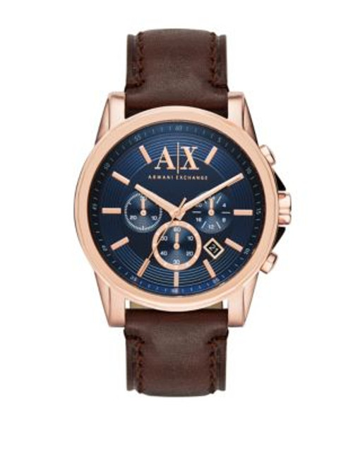 Armani Exchange Chronograph Outerbanks Leather-Strap Watch - BROWN