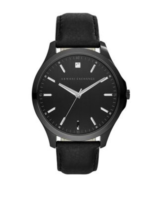 Armani Exchange Analog Hampton Leather-Strap Watch - BLACK