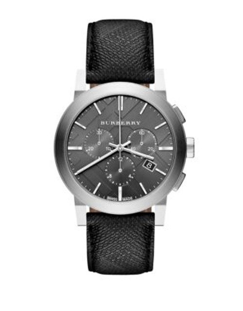 Burberry The City Leather Chronograph Watch - BLACK
