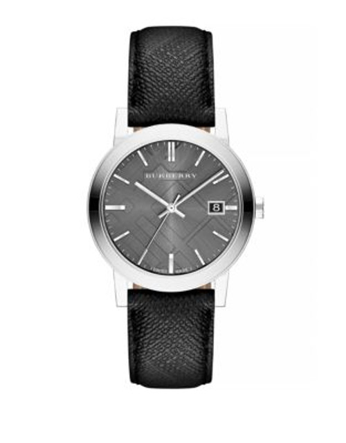 Burberry The City Textured Leather Watch - BLACK