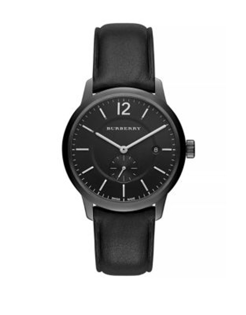 Burberry Classic Round Analog Leather Watch - BLACK