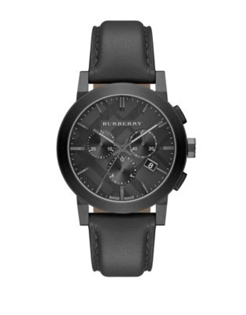 Burberry The City Leather Chronograph Watch - BLACK/BLACK