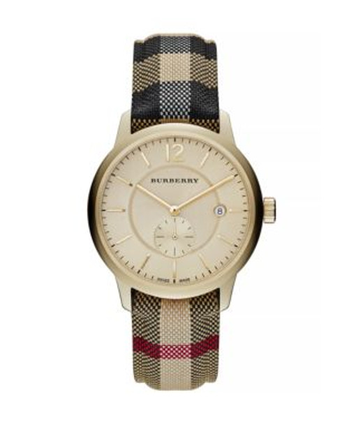 Burberry Classic Round Goldtone Check Watch - MULTI