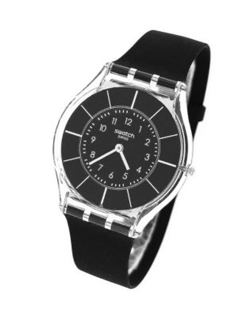 Swatch Black Classiness Silicone Strap Watch - BLACK