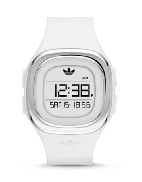 Adidas Denver Digital Silicone Strap Watch - WHITE